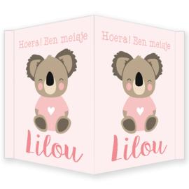 Geboortebord - Geboortebord raam met een schattige koala type Lilou