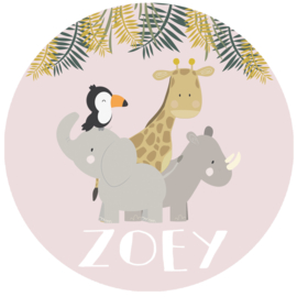 Geboortesticker full colour met dieren type Zoey