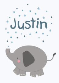 Geboortebord - Geboortebord met een olifantje type Justin