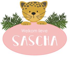 Geboortesticker full colour met leuke jaguar type Sascha