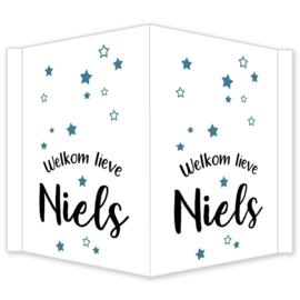 Geboortebord - Geboortebord raam met sterretjes type Niels