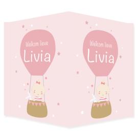 Geboortebord - Geboortebord met een schattige baby in luchtballon type Livia