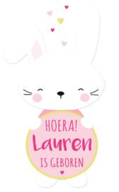 Geboortesticker full colour met lief konijntje type Lauren