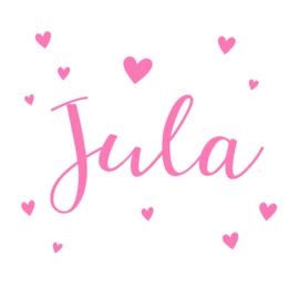 Geboortesticker met hartjes rondom naam type Jula