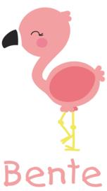 Geboortesticker full colour met leuke flamingo type Bente