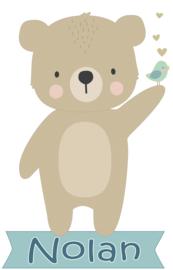 Geboortesticker met een schattige beer type Nolan