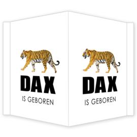Geboortebord - Geboortebord raam met een stoere tijger type Dax