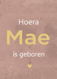 Geboortebord - Geboortebord oud roze met betonlook type Mae