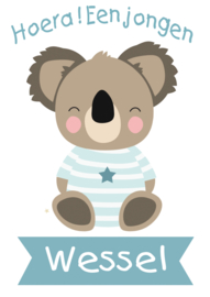 Geboortesticker full  colour met koala type Wessel