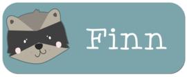 Naamstickers kind met wasbeer type Finn