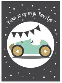 Uitnodiging kinderfeestje auto
