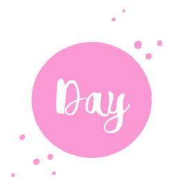 Geboortesticker met verf spettertjes type Day
