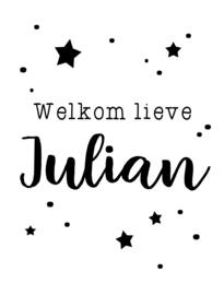 Geboortebord jongen - Geboortebord raam sterretjes en stipjes type Julian