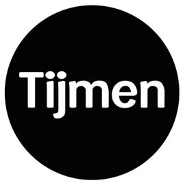 Geboortesticker full colour zwart met witte letters type Tijmen