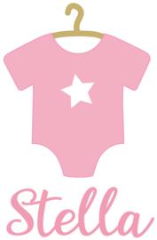 Geboortesticker met roze romper type Stella