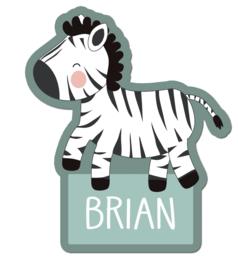 Naamstickers in vorm met een leuke zebra