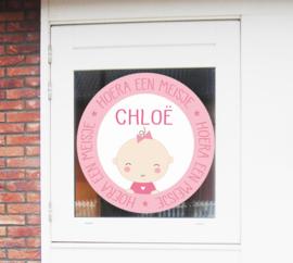 Geboortesticker full colour met lieve baby type Chloë