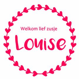 Geboortesticker met de tekst 'welkom lief zusje' type Louise