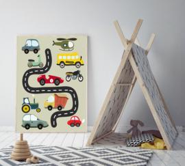 Poster kinderkamer met voertuigen  - poster babykamer of kinderkamer