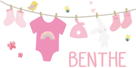 Geboortesticker leuke waslijn met babyspulletjes type Benthe