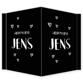 Geboortebord - Geboortebord raam zwart met witte hartjes type Jens