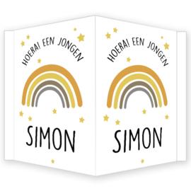 Geboortebord jongen - Geboortebord raam met regenboog type Simon