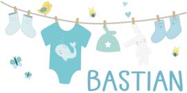 Geboortesticker met schattige waslijn type Bastian