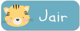 Naamstickers kind met stoer tijgertje type Jair