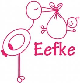 Geboortesticker met ooievaar type Eefke