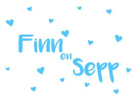 Geboortesticker tweeling type Finn en Sepp