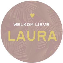 Geboortesticker full colour met bladeren type Laura