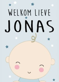Geboortebord - Geboortebord raam met een leuke baby type Jonas
