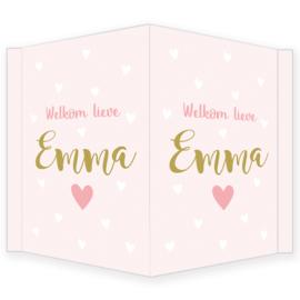 Geboortebord - Geboortebord raam met hartjes type Emma