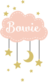 Geboortesticker full colour met wolk sterren en maan type Bowie
