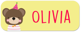Naamstickers  met beer type Olivia