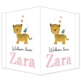 Geboortebord - Geboortebord met een leuke jaguar type Zara