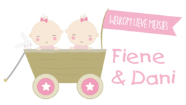 Geboortesticker tweeling type Fiene en Dani