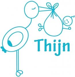 Geboortesticker met ooievaar type Thijn