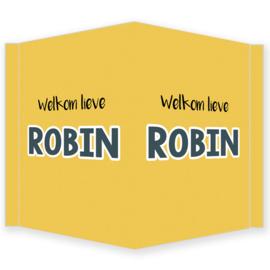Geboortebord - Geboortebord raam okergeel en de tekst 'welkom lieve' type Robin.