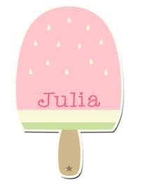Naamstickers in vorm met een leuk ijsje
