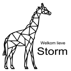 Geboortesticker giraf geometrisch type Storm