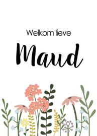 Geboortebord - Geboortebord raam met een bloemen type Maud