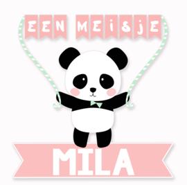 Geboortesticker panda full colour type Mila