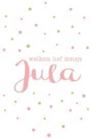 Geboortesticker 'welkom lief meisje' type Jula
