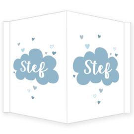 Geboortebord - Geboortebord raam  wolkje en hartjes type stef