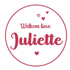 Geboortesticker wit met leuke hartjes type Juliette