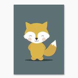 Poster met een leuke vos - poster babykamer of kinderkamer