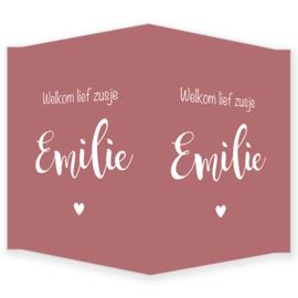 Geboortebord - Geboortebord met de tekst 'welkom lief zusje' type Emilie