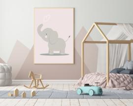 Poster met een schattige olifant - poster babykamer of kinderkamer