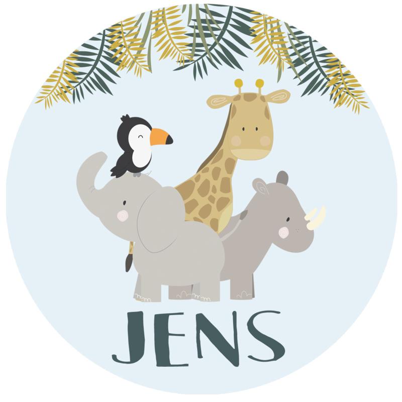 Geboortesticker full colour met leuke dieren type Jens